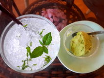 Relaxtion time. Soda lime mint and greentea ice-cream in afternoon Stock Image