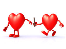Relay between hearts Stock Photography