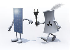 Relay between nuclear industry and solar panel Royalty Free Stock Images