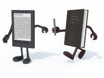 Relay between old book and electroni book reader. Relay between old book and electronic book reader, the concept of innovation tecnology Stock Photos