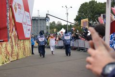 The relay of the Olympic Flame in Moscow Stock Photo