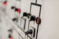 Relay protection system. Bay control unit. Medium voltage switch. Gear. Close up Royalty Free Stock Photos