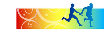 Relay race. Silhouette of two athletes taking part in a relay race Stock Illustration