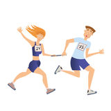 Relay race. Running man and woman. Vector illustration, isolated on white. Stock Photos