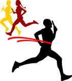 Relay race. Vector illustration of silhouette's sportsmen relay running sprinting on white background Stock Photo