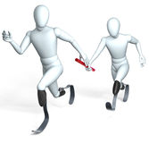 Relay racing handicapped runners Stock Image