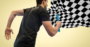 Relay runner against yellow background and checkered flag Royalty Free Stock Image