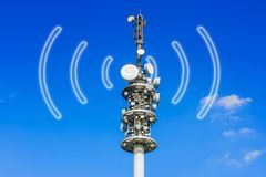 Relay transmitting signals. A Relay transmitting signals and a blue sky in the background Stock Photos