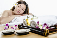 Relaying young adult at spa treatment Stock Images