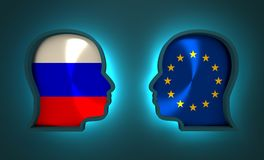 Relazione avveduta ed economica fra la Russia ed Europa Immagine Stock Libera da Diritti