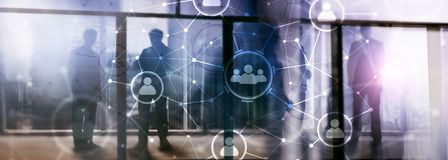 Relazione della gente e struttura di organizzazione Media sociali Concetto di tecnologia della comunicazione e di affari fotografia stock