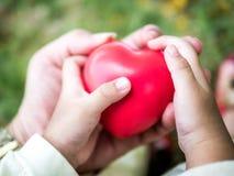 Relazioni, adulto e bambino di famiglia felici tenenti cuore rosso, sanità, concetto pediatrico di cardiologia fotografia stock