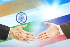 Relazioni amichevoli fra l'India e la Russia Immagini Stock Libere da Diritti