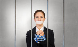 Release of guiltless accused . Mixed media Royalty Free Stock Photo