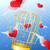 Release of hearts. Illustration with released hearts flies away from a golden cage drawn in cartoon style Royalty Free Stock Photos