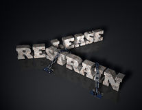 Release or Restrain. Computer-generated 3D illustration depicting the words: Restrain and Release royalty free illustration