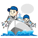 Release the Young Fish to the Father and the Son. Work and Job C Stock Photography