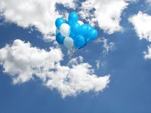 airborne balloons in clouds Royalty Free Stock Photo