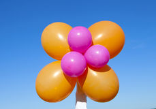 Released flying huge balloons blue sky Royalty Free Stock Images