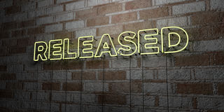 RELEASED - Glowing Neon Sign on stonework wall - 3D rendered royalty free stock illustration Royalty Free Stock Image