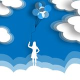 Releasing Balloons. A woman releases a bunch of balloons to the sky in a minimalist surreal illustration Stock Photography