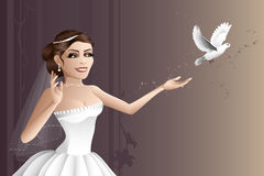 Releasing the dove. A beautiful bride releasing a white dove on her wedding day Royalty Free Stock Photo