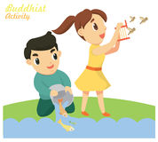 Releasing Fishes and Birds. One of the Buddhist activity Royalty Free Stock Images
