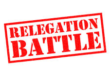 RELEGATION BATTLE. Red Rubber Stamp over a white background Royalty Free Stock Images