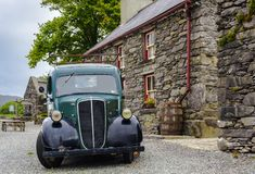 RELEIGH, IRELAND - AUGUST 28: Oldtimer car in front of Molly Gallivan`s a traditional Irish Farm House stock photos