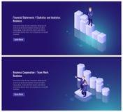 Relevé de compte financier, statistiques et, analytics, coopération d'affaires, travail d'équipe, associé, homme d'affaires, diag illustration stock