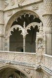 Relevación adornada arqueada en el monasterio de Jeronimos Foto de archivo