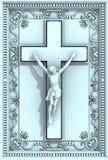 Relevación ornamental del marco del crucifijo del Jesucristo Imagenes de archivo
