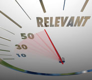 Relevance Word Speedometer Important Significant Pertinent Infor. Relevance word on a speedometer illustrating information is significant, pertinent or important Royalty Free Stock Photos