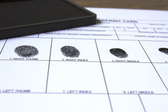 Relevez les empreintes digitales de la carte Images libres de droits