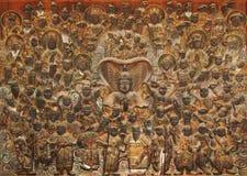 Relevo de madeira 104 do deva, museu de Mok-a, Coreia Imagens de Stock Royalty Free