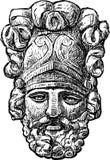 Relevo escultural sob a forma da máscara do guerreiro antigo Imagens de Stock Royalty Free