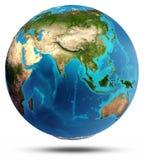 Relevo real e água da terra do globo Imagens de Stock