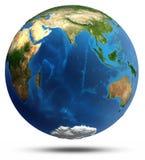 Relevo real e água da terra do planeta Imagens de Stock