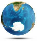 Relevo real e água do oceano sul Imagem de Stock