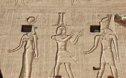 Relevos nas paredes do templo de Edfu Egypt Fotografia de Stock