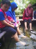 Relexing con i piedi d'inzuppamento allo stagno della sorgente di acqua calda Immagine Stock Libera da Diritti