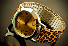 Relógio com a correia animal da cópia Fotografia de Stock