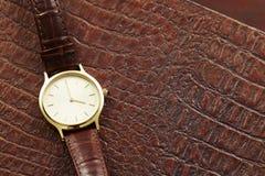 Relógio de couro Imagem de Stock Royalty Free