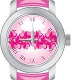 Relógio fêmea isolado no branco Fotografia de Stock