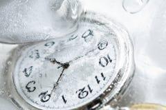 Relógio no gelo Imagens de Stock Royalty Free