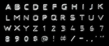 In reliëf gemaakte letter en getallen Stock Afbeeldingen