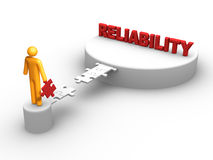 Reliability. Stick figure creating bridge to the success Royalty Free Stock Photo