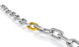 Reliability. Steel chain with one golden chain link. Concept of reliability Stock Photography