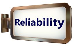 Reliability on billboard background. Reliability on wall light box billboard background , isolated on white Royalty Free Stock Image