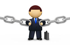 Reliability concept. Powerful businessman holding chains (isolated on white Stock Photography